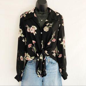 Vintage Oversized Sheer Black Floral Button Front